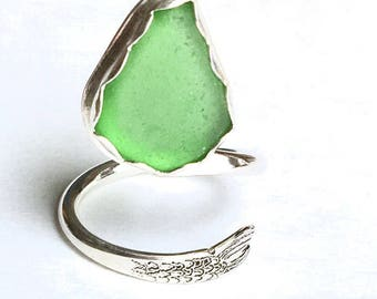 Sea Glass Adjustable Beach Ring