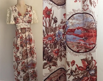 30% OFF 1970's Floral & Country Side Print Maxi Dress w/ Crochet Sleeves Size XS Small by Maeberry Vintage