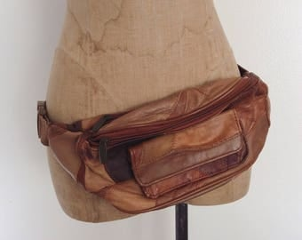 1980's Brown Leather Patchwork Fanny Pack by Maeberry Vintage