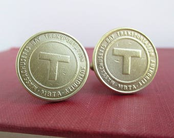 Boston T Token Cuff Links - Gold / Brass - Repurposed Upcycled Vintage Coins