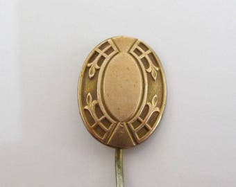 Antique Gold Stick Pin - Vintage, Nice Smooth & Textured Decorative Face