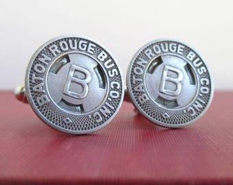 BATON ROUGE Transit Token Cuff Links - Repurposed Vintage Coins