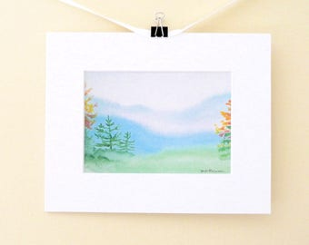 Blue Ridge mountains landscape, mountain watercolor painting giclee print, orange and yellow autumn leaves, 8x10 matted