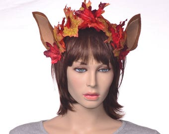 Autumn Fairy Headband with Fawn Ears and Leaves
