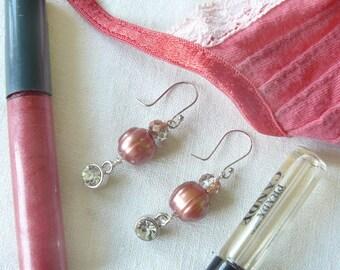 Blush Pearl and Rhinestone Drop Earrings