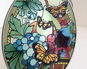 """Vintage Oval  Stained glass-colorful Butterfly/ Suncatcher stained glass/ Window Decor Stained glass 7""""x5.2""""/ Stained Glass wall decor"""