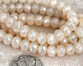 7mm x 5mm Czech Glass Rondelle Beads (25) Faceted Spacer - Milky Opal Cream Luster - Bohemian Shabby Romantic Glam - Central Coast Charms