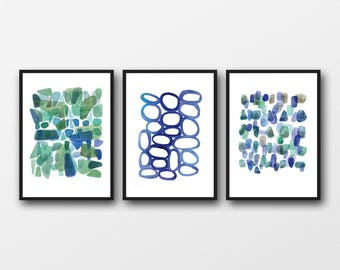 Etsy Sale, Wall art set of 3 prints, watercolor paintings set blue green watercolor  prints, abstract art prints, nautical style