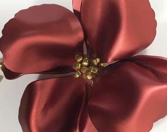 Vintage Large Satin Enamel Flower Brooch Gold Tone Soft Rose