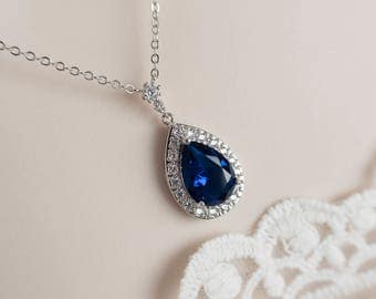 Blue Sapphire Necklace, Bridal Necklace, Bridesmaids Necklace, Wedding Blue Sapphire Necklace, Large Blue Sapphire CZ Teardrop Necklace