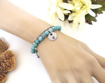 Turquoise Bracelet, Gemstone Bracelet, Initial Bracelet, Southwest Style Jewelry
