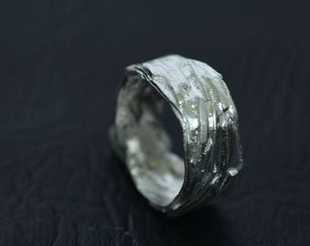 SL1045 - SILVER,  Wide Band Ring, Fused Silver,  Anniversary .