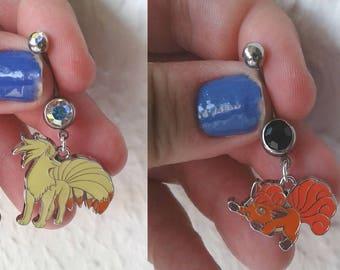 Pokémon  Bellybutton Piercings  - NINETALES & VULPIX - Belly iridescent botton jewelry, navel ring - Pokemon Go