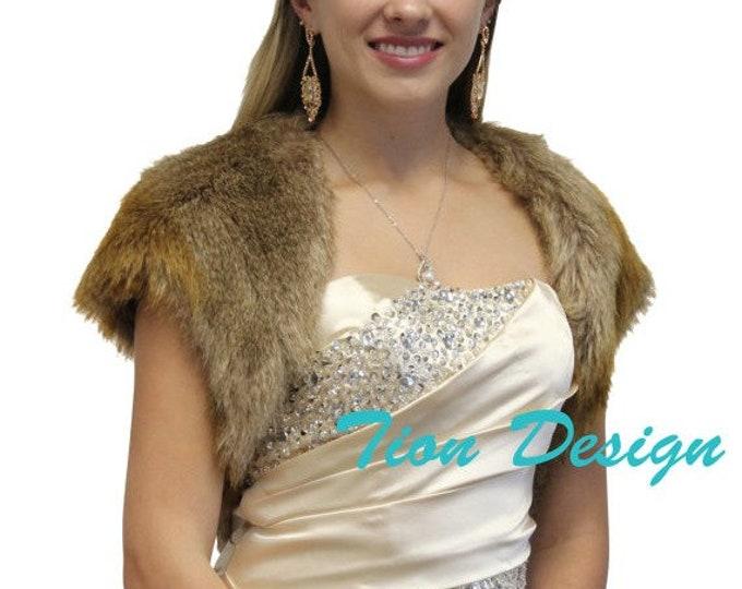 Easter Sale Bridal Bolero, faux fur bolero jacket Vintage Brown, fur shrug, fur stole, fur coat, fur shawl