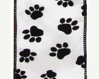 SUPPLY SALE 2.5 Inch Paw Print Flocked Wired Ribbon RZ0370, Deco Mesh Supplies