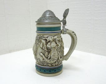 Vintage Avon 1990 Endangered Species Asian Elephant Stein