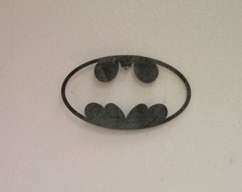Batman logo Cutout Wall Art Steel Custom Batman Wall Decor Recycled Metal Super Hero Inspired Logo