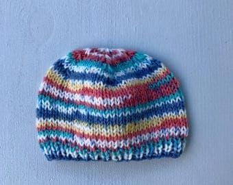 Hand Knit Baby Beanie (newborn-3 mos)