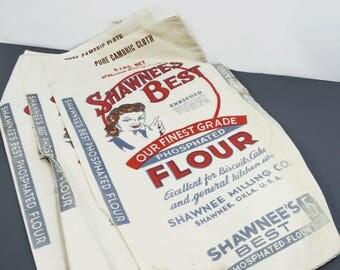 3 Shawnee Best Flour Sacks, NOS, 5 lb. size, Shawnee Milling Co., Advertising, Phosphated Flour