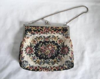 Vintage Tapestry Handbag Made in Hong Kong Roses
