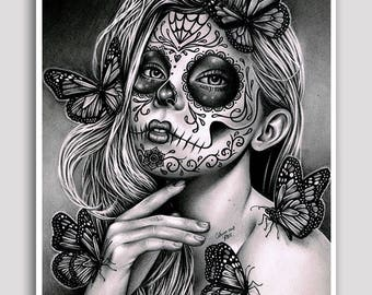 30 PERCENT OFF Mariposa - 18x24 inch Poster Sized Art Print - Pretty Tattoo Art Day of the Dead Sugar Skull Calavera Girl Poster