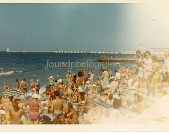 Vintage Photo, People in Bathing Suits, Crowded Beach, Sochi Russia, Sunbathers, Snapshot, Travel Photo, Color Photo, Old Photo