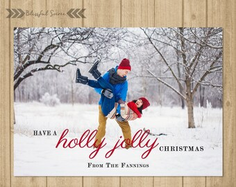 Holly Jolly Christmas Card | Custom Photo Christmas Card | Christmas Card | Holiday Photo Card | DIY Printable | Holiday Greetings