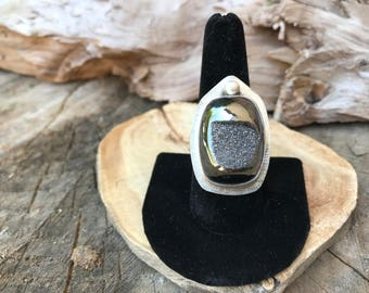 Natural Druzy and Sterling Silver Ring - Size 8.5