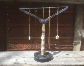 Shabby Chic Jewelry Storage Holder, Handmade Wood Jewelry Display, Necklace/Bracelet Hanger, Black/Gold Display