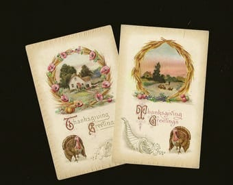 Pair Charming Embossed Vintage Thanksgiving Postcards Turkey Tom and Country Scenic Views in Harvest Wreaths A S Meeker