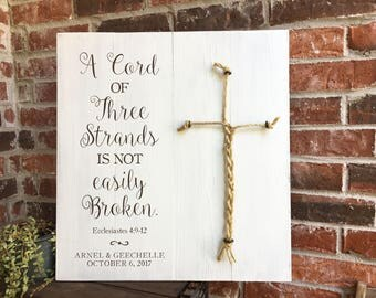 A Cord of three strands, Ecclesiastes 4:9-12, RUSTIC WHITE, unity ceremony sign, wedding ceremony sign, rustic wedding decor, 3 cords sign