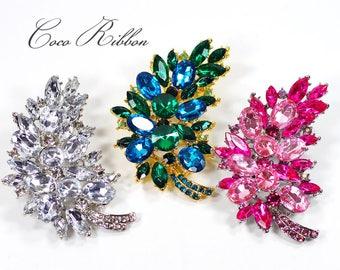 Flower Leaf Brooch, Vintage Style Crystal Designer Pin Brooches Wedding E20