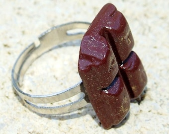 Chocolate ring, gourmet jewels in fimo