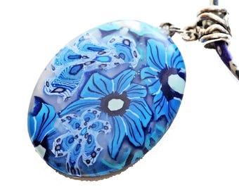 Blue flower cabochon necklace, fimo flower, liberty blue