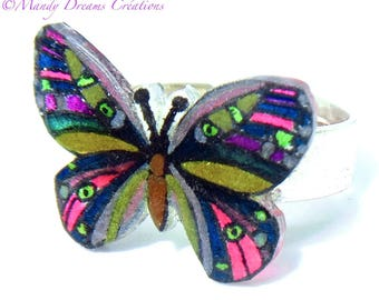 Butterfly ring multicolor, silver, handmade, unique