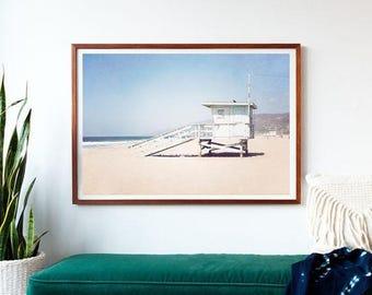 SALE Photography, Large Art,  Extra Large Print,  Framed Art Print, Coastal Decor, California, Lifeguard Tower, Malibu, Extra Large Wall Art