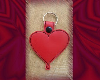 Red Heart with a twist Embroidered Key Fob, Key Chain, Luggage Tag, Bag Clip, Vinyl, Key Ring, Purse Charm