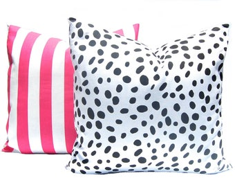Throw Pillow Covers - Dalmatian Pillow and Pink Stripe Pillow - Throw Pillow Cover - Teen Girl Room Decor - Pink and Black - Sofa Pillow
