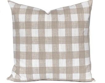 Buffalo Plaid Pillow Cover - Tan Pillow Cover - Buffalo Check - Farmhouse Decor - Decorative Pillow Cover - Sofa Pillow Cover - Plaid Decor