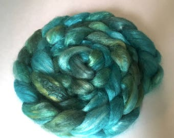 Silk Roving: GRASS & SKY in green and aqua