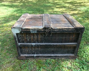 1900 Wooden Mercantile Bakery Crate, Farm House Coffee Table, Country Store, Primitive
