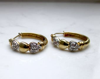 Vintage 10k Solid Yellow Gold, with White Gold and Diamond Accents 3/4 inch Hoops Pierced Earrings