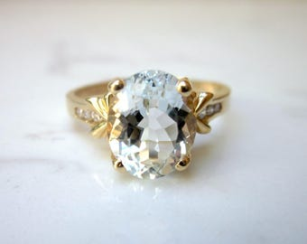 Vintage Aquamarine and Diamond 14k Solid Yellow Gold Ring with Bow Accents, Size 8