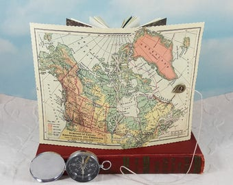 Canada Newfoundland and Greenland Travel Journal with Vintage 1920s Map Cover