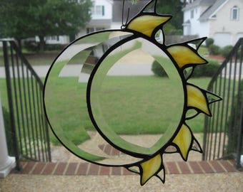 Stained glass Sun and Moon beveled sun catcher