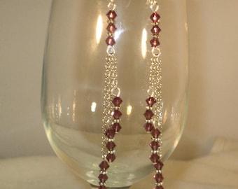 Swarovski 3-Tier Purple Chain Earrings,Earrings,Jewelry,Chain Earrings,Swarovski Earrings,Crystal Earrings,Chandelier Earrings,