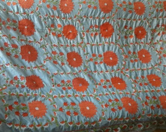 Uzbek total hand embroidered blue suzani. Wall hanging, bed cover suzani. Medallions suzani