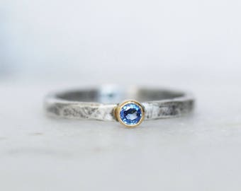 Blue Sapphire Stacking Ring - 3mm Ceylon Blue Sapphire 18k Yellow Gold and Sterling Silver