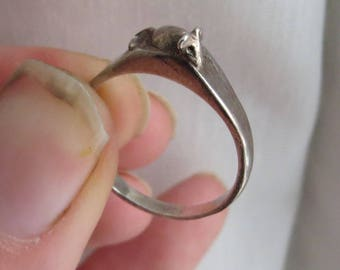 VINTAGE Sterling Silver Wee Beastie MOUSE  RING