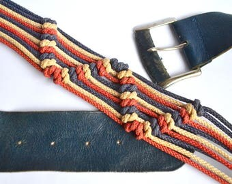 1940s V for Victory red white blue macramé cord & leather belt / 40s wartime patriotic stripe rope buckled belt